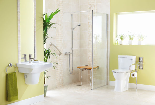 universal design a zero clearance shower adds value to countertops and cabinets Matching Kitchen Cabinets and Countertops
